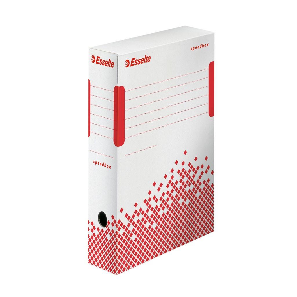 840dd0518 Krabica archívna Esselte Speedbox, 8 cm, bielo-červená