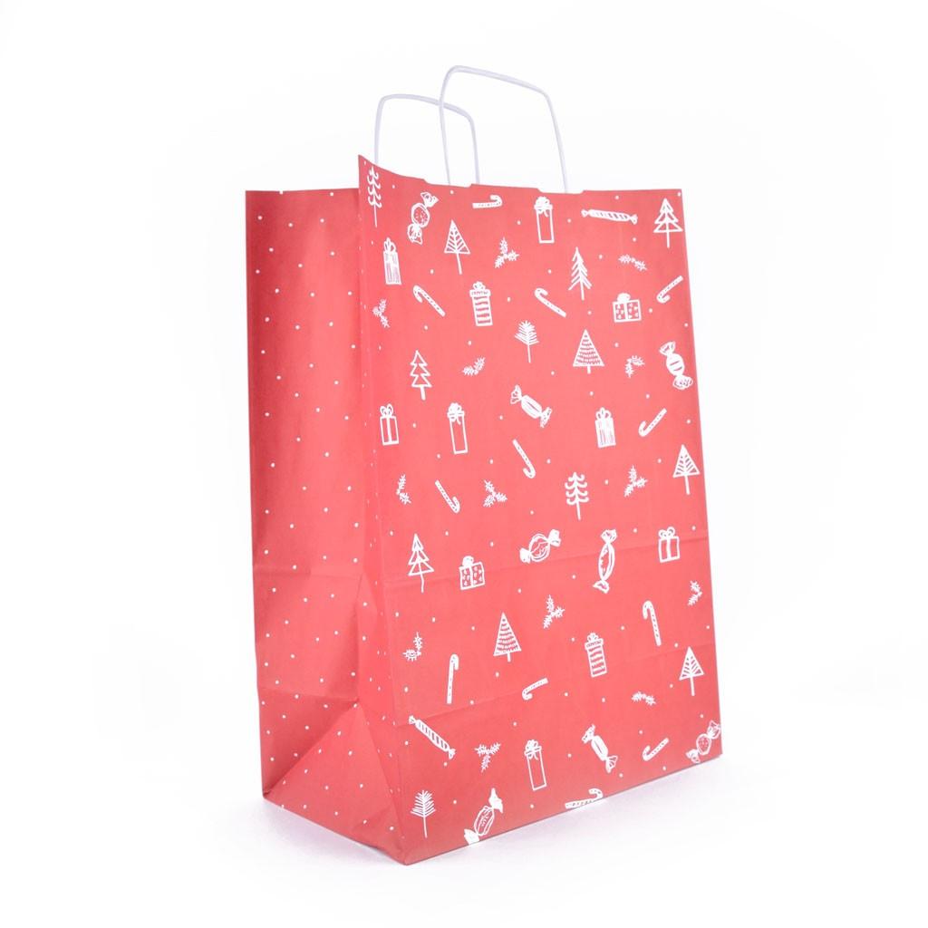 """d7212b7ad Papierová darčeková taška s krúteným uchom, """"natur"""", s potlačou – darčeky,"""
