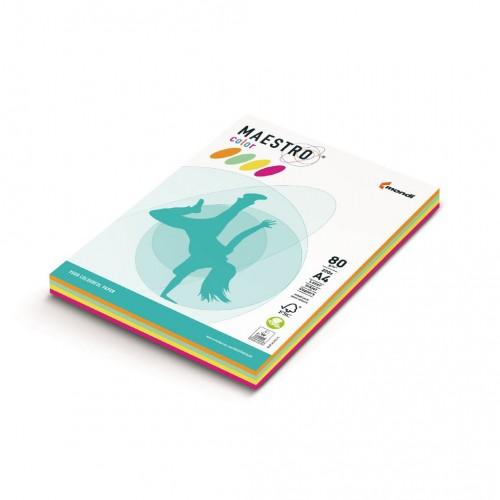 Kancelársky kopírovací papier farebný MAESTRO color, A4, 80 g, neónový mix, 4 x 50 hárkov