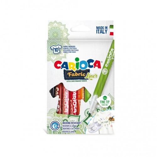 Súprava farebných fixiek na textil Carioca Fabric, 2,6 mm, 10 ks