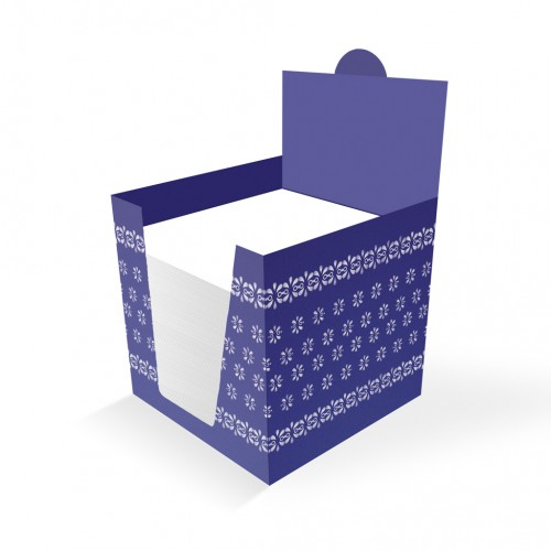 """Poznámkový blok v tvare kocky, 10 x 10 x 10 cm, sypaný, v papierovom stojane ŠEVT """"modrotlač"""""""