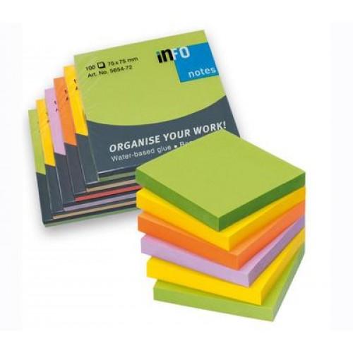 Samolepiaci blok SPRING, 75 x 75 mm, 100 listov, mix žiarivých farieb, sada 6 ks