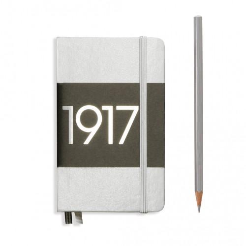 Poznámkový zápisník Leuchtturm1917, Hardcover, Pocket, A6, 90 x 150 mm, linajkový, strieborný