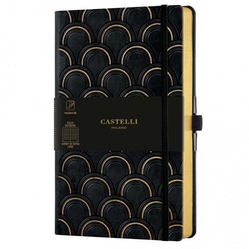"""Poznámkový zápisník Castelli """"Copper & Gold"""", A5, 130 x 210 mm, 120 listov, linajkový, Art Deco Gold"""