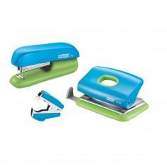 Súprava minizošívačka Rapid F5 a minidierovač FC10 a odsponkovač, pastelová modro-zelená
