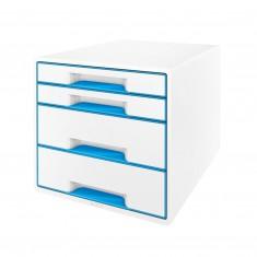 Zásuvkový box Leitz WOW, 4 zásuvky, metalický modro-biely