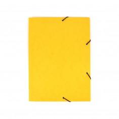 Odkladacia mapa OM3, s 3 chlopňami a gumičkou, A4, prešpánová, žltá
