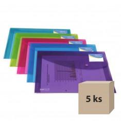 Plastový obal so zapínaním Rapesco A4+, s puzdrom na vizitku, mix farieb, 5 ks
