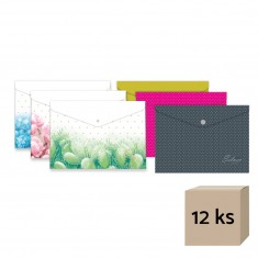 Plastový obal so zapínaním, A4, mix motívov, 12 ks