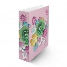 """Zakladač pákový laminovaný, A4, 8 cm, """"3D kvety ružové"""""""