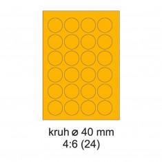 Etikety PRINT, priemer: 40 mm, neónovooranžové, 20 hárkov