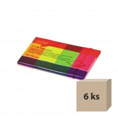 Samolepiace záložky, 20 x 50 mm, 4 neónové farby x 50 listov, 6 ks
