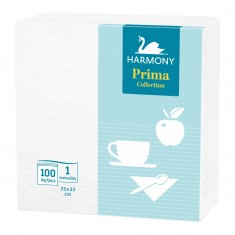 Papierové obrúsky Harmony Prima, jednovrstvové, biele, 100 ks