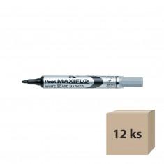 Popisovač na tabule Pentel Maxiflo MWL5S-A, 4 mm, čierny, 12 ks