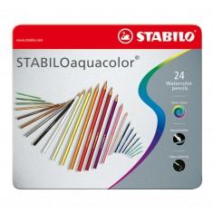 Akvarelové farbičky STABILOaquacolor, kovové puzdro, súprava 24 ks