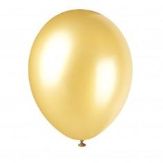 Balóny perleťovej zlatej farby, 8 ks
