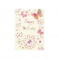 """Blahoželanie Turnowsky """"Happy birthday – kvietky a motýle"""""""