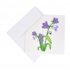 """Originálne """"handmade"""" blahoželanie """"fialové zvončeky"""", 15 x 15 cm"""