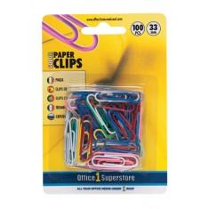 Farebné listové spony 33 mm, 100 ks