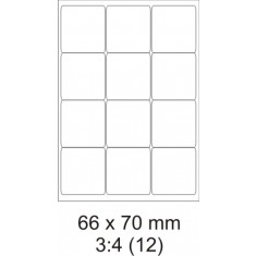 Etikety PRINT, 66 x 70 mm, biele, 100 hárkov