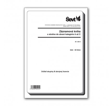 Záznamová kniha o strelive do zbraní kategórie A až C, držiteľ skupiny B zbrojnej licencie