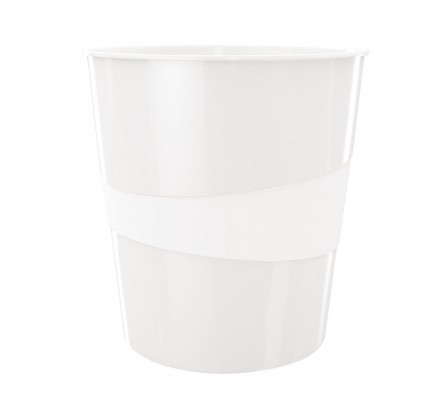 Odpadkový kôš Leitz WOW, 15 litrov, perleťový biely