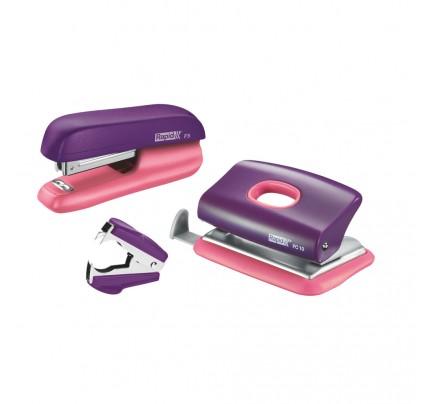 Súprava minizošívačka Rapid F5 a minidierovač FC10 a odsponkovač, pastelová fialovo-broskyňová