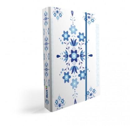 """Dosky s boxom """"ľudový motív – modrý ornament"""", 2018, A5, široké, lamino"""