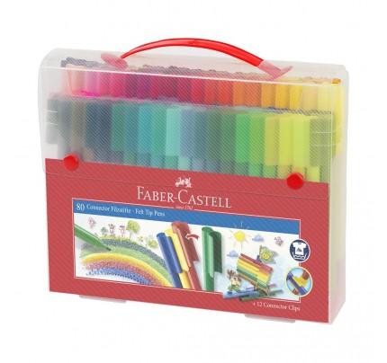 Fixky Faber Castell s klipom, v plastovom kufríku, súprava 80 ks