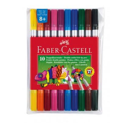 Fixky Faber Castell Fibre-Tip, obojstranné, súprava 10 ks