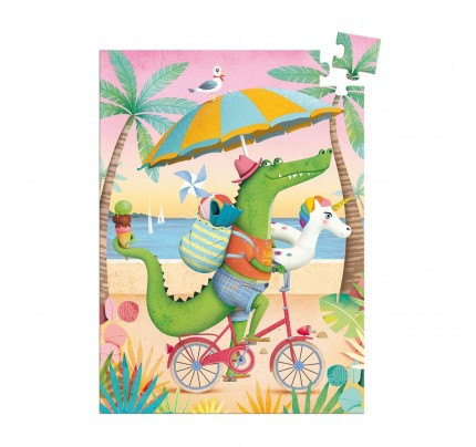 "Mini Puzzle Djeco ""krokodíl na pláži"", 60 ks"