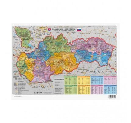 Obojstranná mapa SR, geografická a administratívna, laminovaná, A3