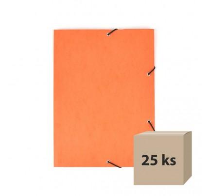 Odkladacia mapa OM3, s 3 chlopňami a gumičkou, A4, prešpánová, oranžová, 25 ks