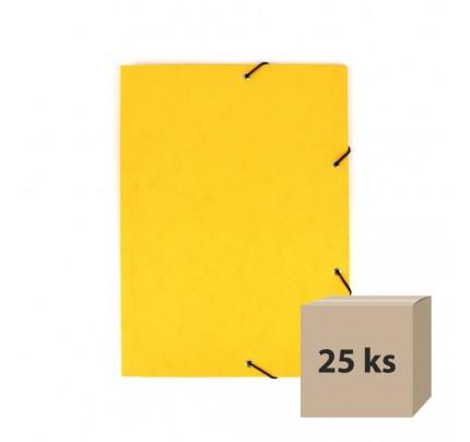 Odkladacia mapa OM3, s 3 chlopňami a gumičkou, A4, prešpánová, žltá, 25 ks