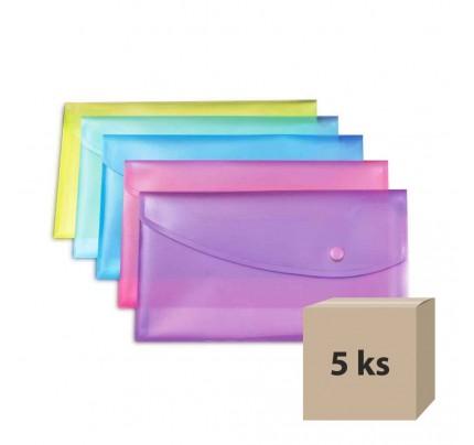 Plastový obal so zapínaním Rapesco A5, mix farieb, 5 ks
