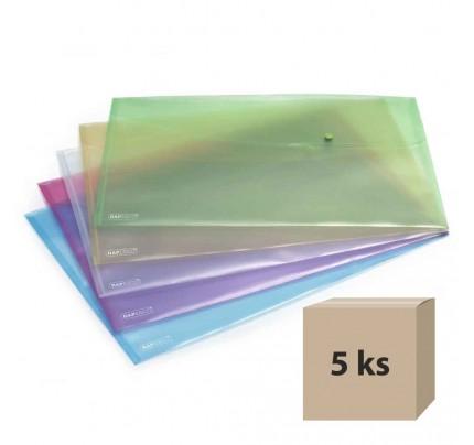 Plastový obal so zapínaním Rapesco A3, mix farieb, 5 ks