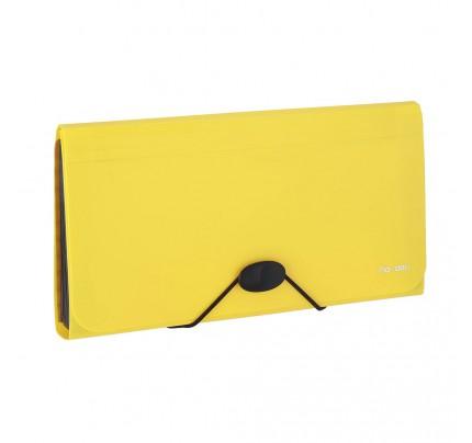 Box na spisy s gumou DL Deli Rio, PP, 13-dielny, žltý