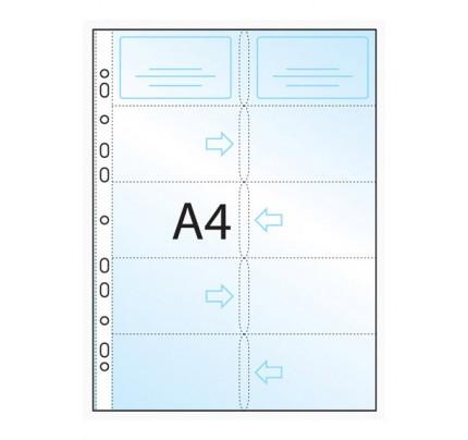 Náhradná náplň do vizitkára A4, 5 radov, 210 x 295 mm, 10 ks