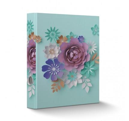 """Zakladač pákový laminovaný, A4, 6 cm, """"3D kvety zelené"""""""