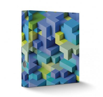 """Zakladač pákový laminovaný, A4, 6 cm, """"3D kocky modré"""""""