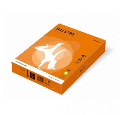 Kancelársky kopírovací papier farebný MAESTRO color, A4, 80 g, intenzívny, oranžový OR43