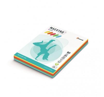 Kancelársky kopírovací papier farebný MAESTRO color, A4, 80 g, intenzívny mix, 5 x 50 hárkov