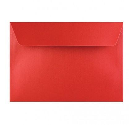 Farebné obálky C6 s odtrhávacou páskou, perleťové červené, 5 ks