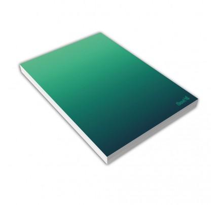 """Blok A5 lepený, """"gradient zelený"""", 80 listov, čistý"""