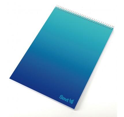 """Blok A6 so špirálou po kratšej strane, """"gradient modrý"""", 80 listov, linajkový"""