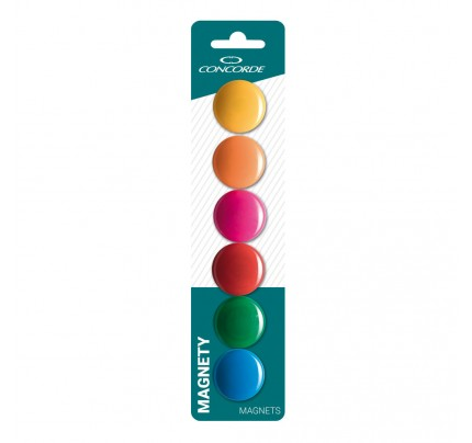 Magnety farebné, 30 mm, 6 ks, mix farieb