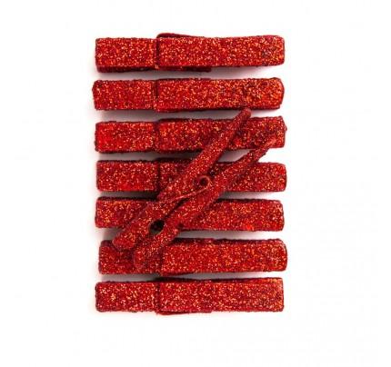 Trblietavé štipce, červené, 8 ks