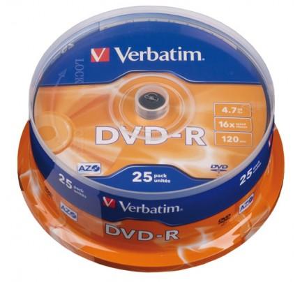 DVD-R Verbatim, 4.7 GB, 16x, cake 25 ks