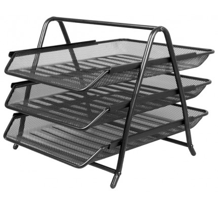 Drôtený stojan s tromi listovými zásuvkami, čierny