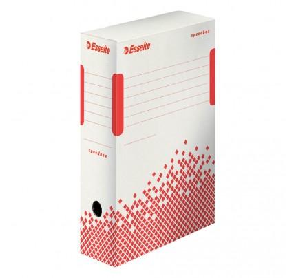 Rýchlo zložiteľná archívna krabica Esselte Speedbox, 35 x 25 x 10 cm, bielo-červená